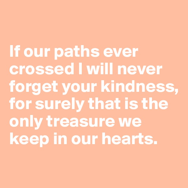 If our paths ever crossed I will never forget your kindness, for surely that is the only treasure we keep in our hearts.