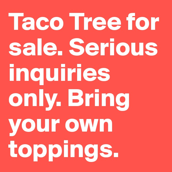 Taco Tree for sale. Serious inquiries only. Bring your own toppings.