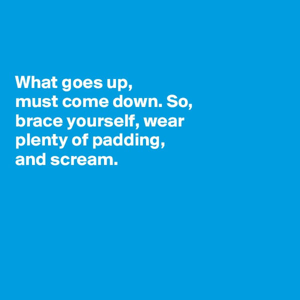 What goes up, must come down. So, brace yourself, wear plenty of padding, and scream.