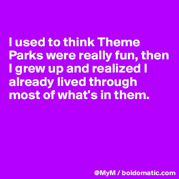 I used to think Theme Parks were really fun, then I grew up and realized I already lived through most of what's in them.