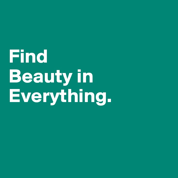Find  Beauty in Everything.