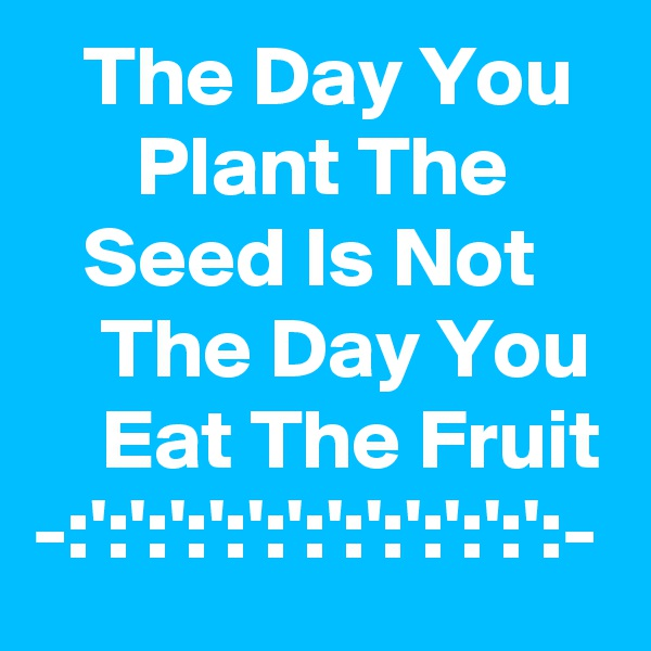 The Day You         Plant The         Seed Is Not        The Day You      Eat The Fruit -:':':':':':':':':':':':':-
