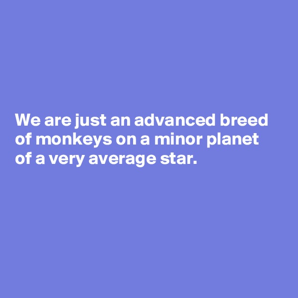 We are just an advanced breed of monkeys on a minor planet of a very average star.