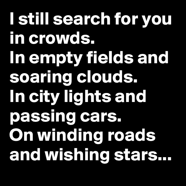 I still search for you in crowds. In empty fields and soaring clouds. In city lights and passing cars. On winding roads and wishing stars...