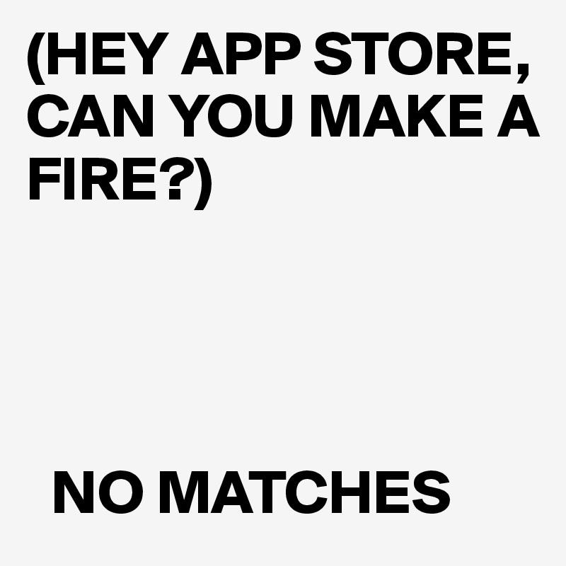 (HEY APP STORE, CAN YOU MAKE A FIRE?)       NO MATCHES