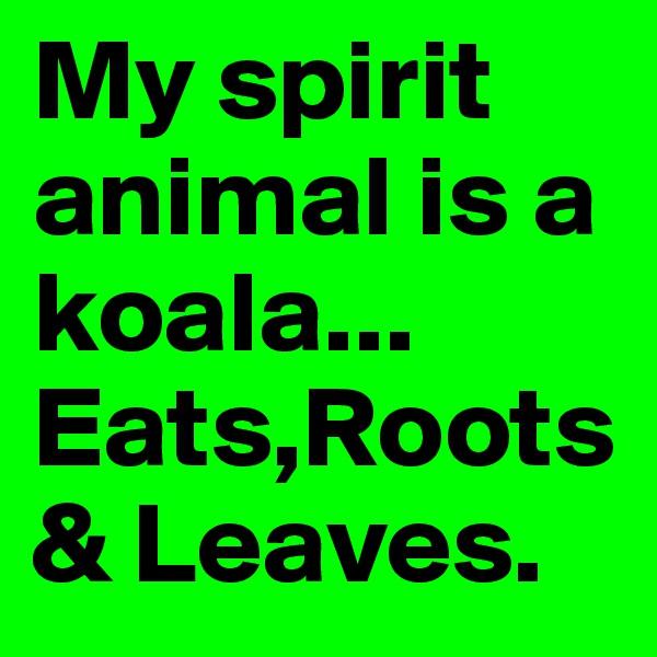 My spirit animal is a koala... Eats,Roots & Leaves.