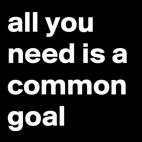 all you need is a common goal