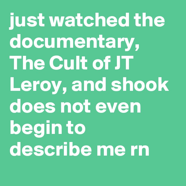 just watched the documentary, The Cult of JT Leroy, and shook does not even begin to describe me rn