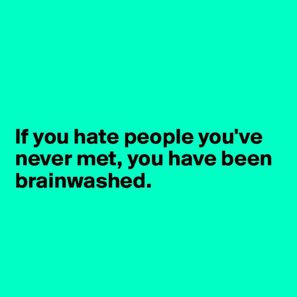 If you hate people you've never met, you have been brainwashed.