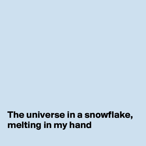 The universe in a snowflake, melting in my hand