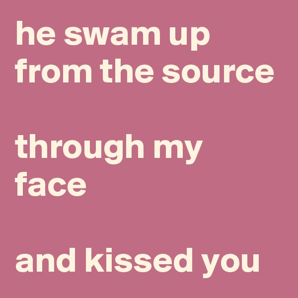 he swam up from the source  through my face  and kissed you