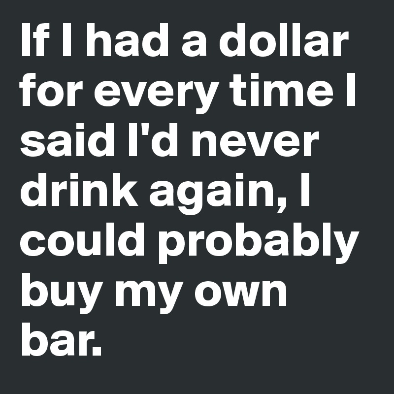 If I had a dollar for every time I said I'd never drink again, I could probably buy my own bar.