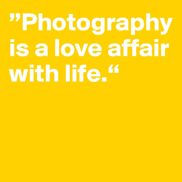 """""""Photography is a love affair with life."""""""