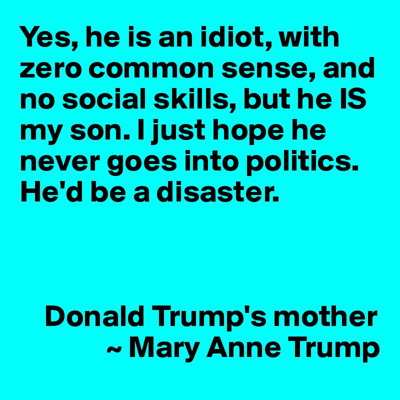 Yes, he is an idiot, with zero common sense, and no social skills, but he IS my son. I just hope he never goes into politics. He'd be a disaster.        Donald Trump's mother               ~ Mary Anne Trump