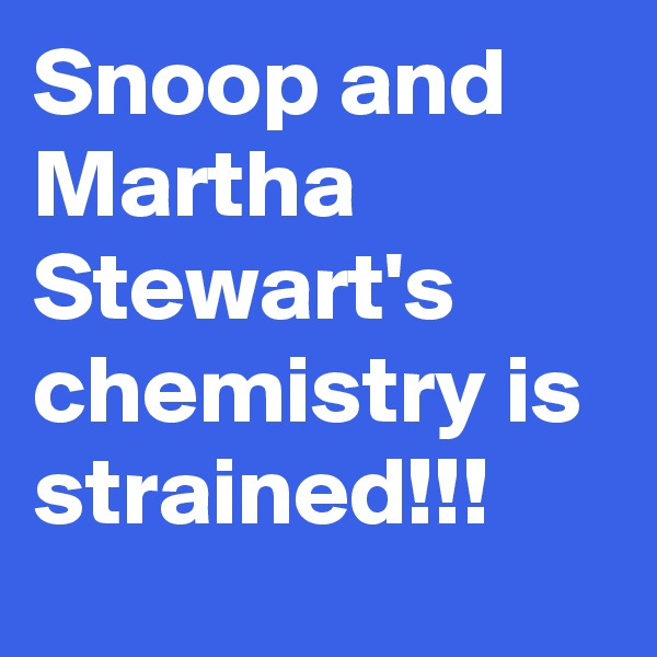 Snoop and Martha Stewart's chemistry is strained!!!