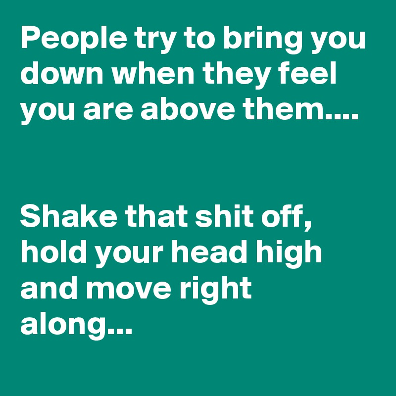 People try to bring you down when they feel you are above them....   Shake that shit off, hold your head high and move right along...