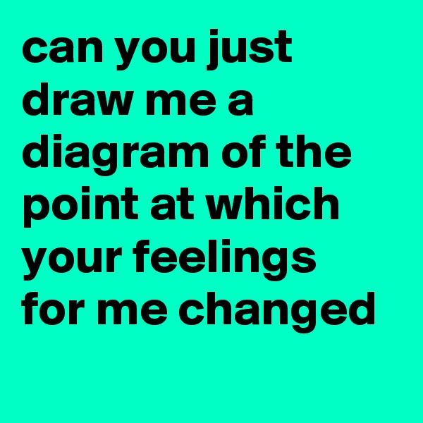 can you just draw me a diagram of the point at which your feelings for me changed