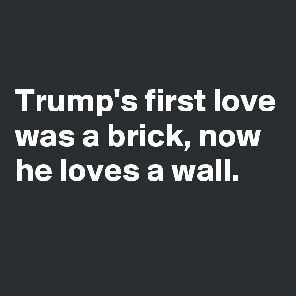 Trump's first love was a brick, now he loves a wall.