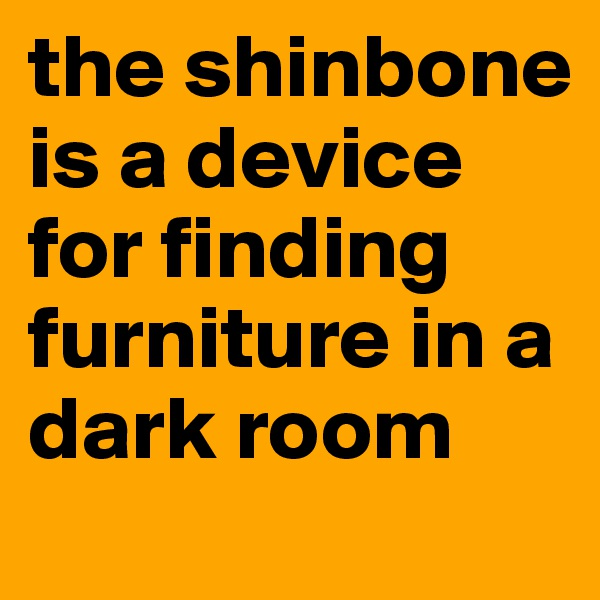the shinbone is a device for finding furniture in a dark room