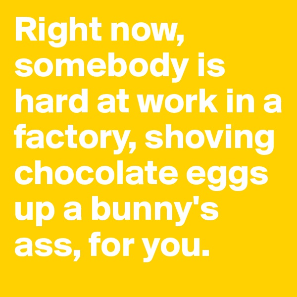 Right now, somebody is hard at work in a factory, shoving chocolate eggs up a bunny's ass, for you.