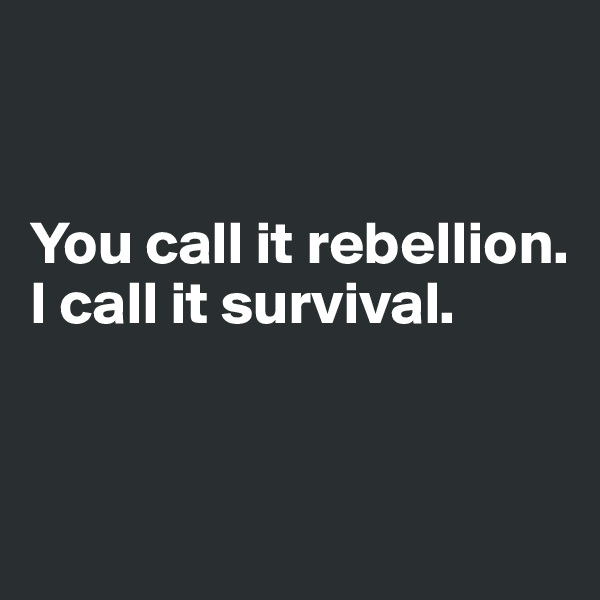 You call it rebellion. I call it survival.