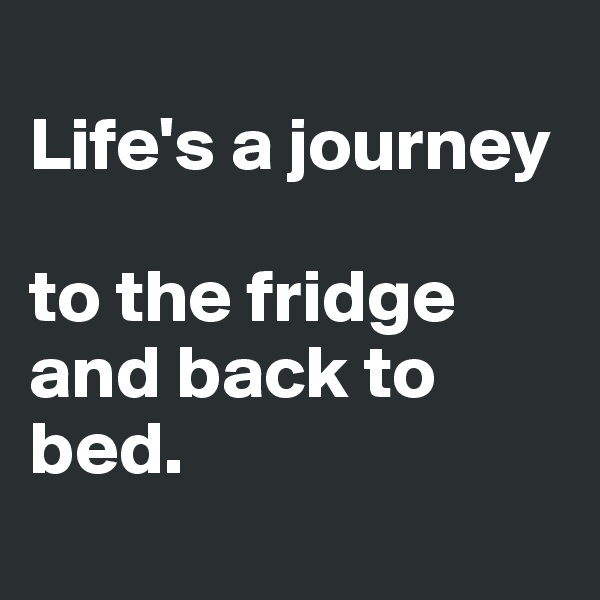 Life's a journey   to the fridge and back to bed.