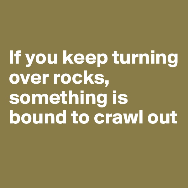 If you keep turning over rocks, something is bound to crawl out
