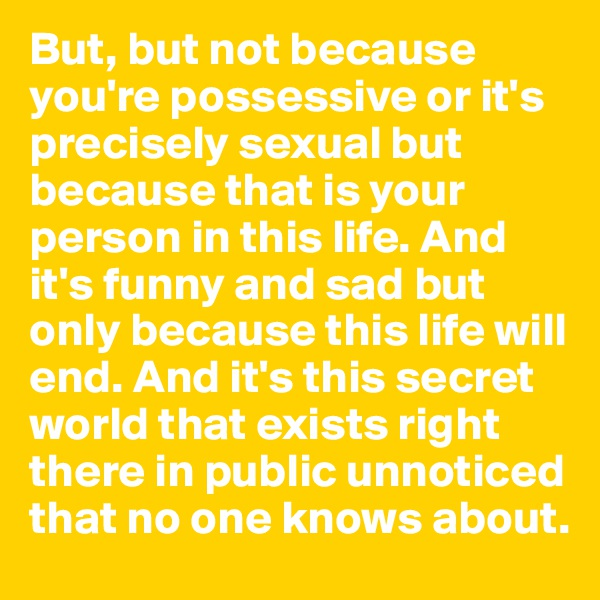 But, but not because you're possessive or it's precisely sexual but because that is your person in this life. And it's funny and sad but only because this life will end. And it's this secret world that exists right there in public unnoticed that no one knows about.