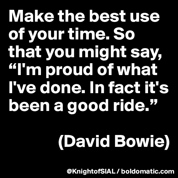 "Make the best use of your time. So that you might say, ""I'm proud of what I've done. In fact it's been a good ride.""                 (David Bowie)"