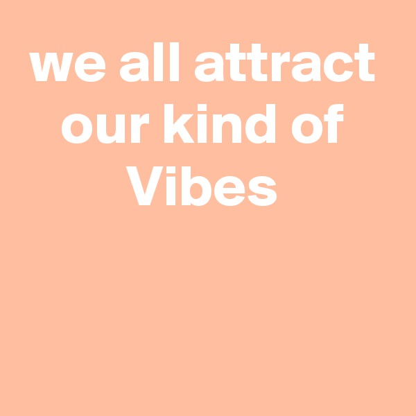 we all attract our kind of Vibes