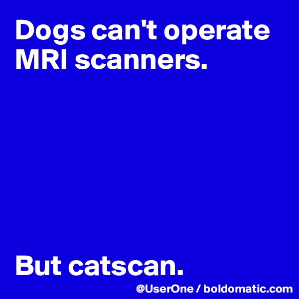 Dogs can't operate MRI scanners.       But catscan.