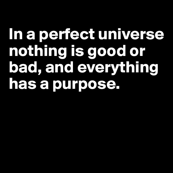 In a perfect universe nothing is good or bad, and everything has a purpose.