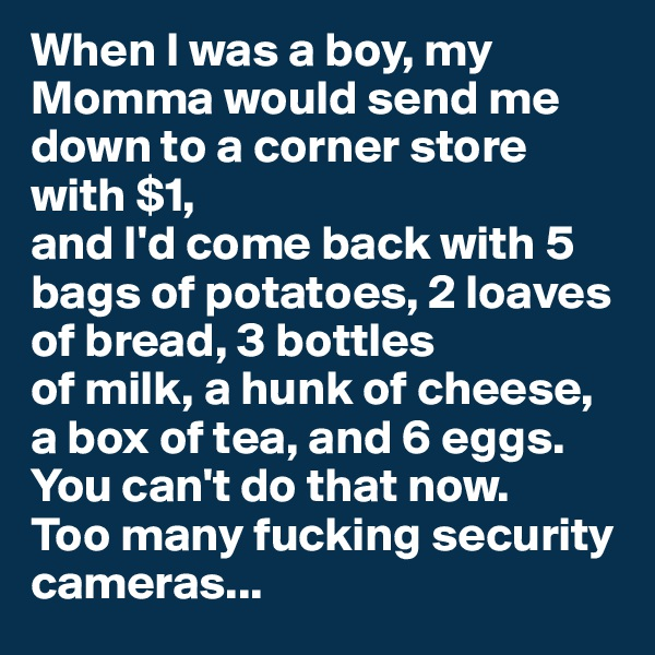 When I was a boy, my Momma would send me down to a corner store with $1, and I'd come back with 5 bags of potatoes, 2 loaves of bread, 3 bottles of milk, a hunk of cheese, a box of tea, and 6 eggs. You can't do that now. Too many fucking security cameras...