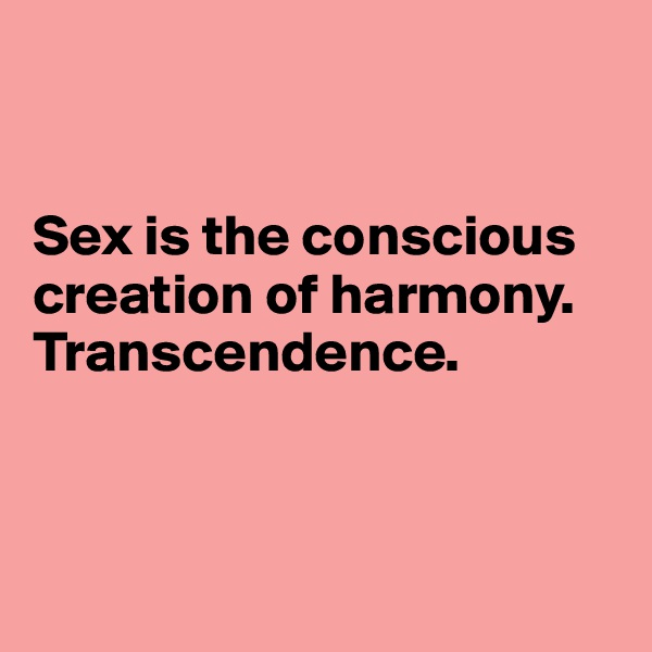 Sex is the conscious creation of harmony.  Transcendence.