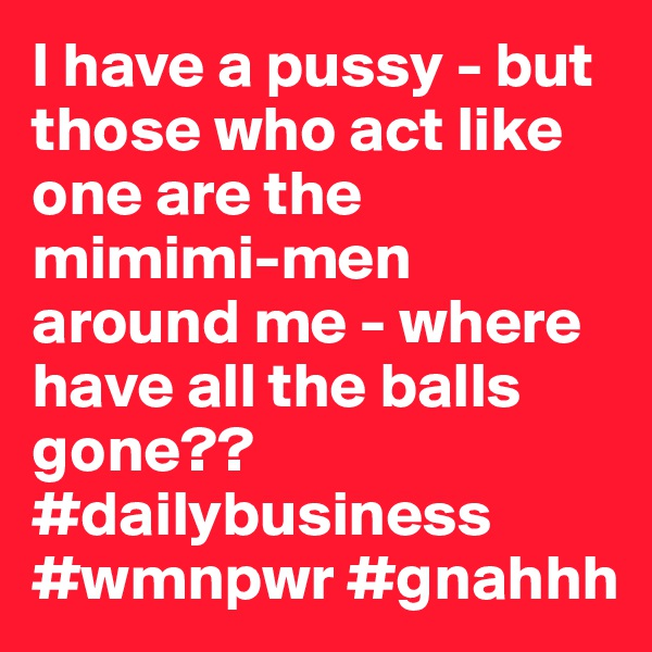 I have a pussy - but those who act like one are the mimimi-men around me - where have all the balls gone?? #dailybusiness #wmnpwr #gnahhh