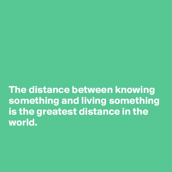 The distance between knowing something and living something is the greatest distance in the world.