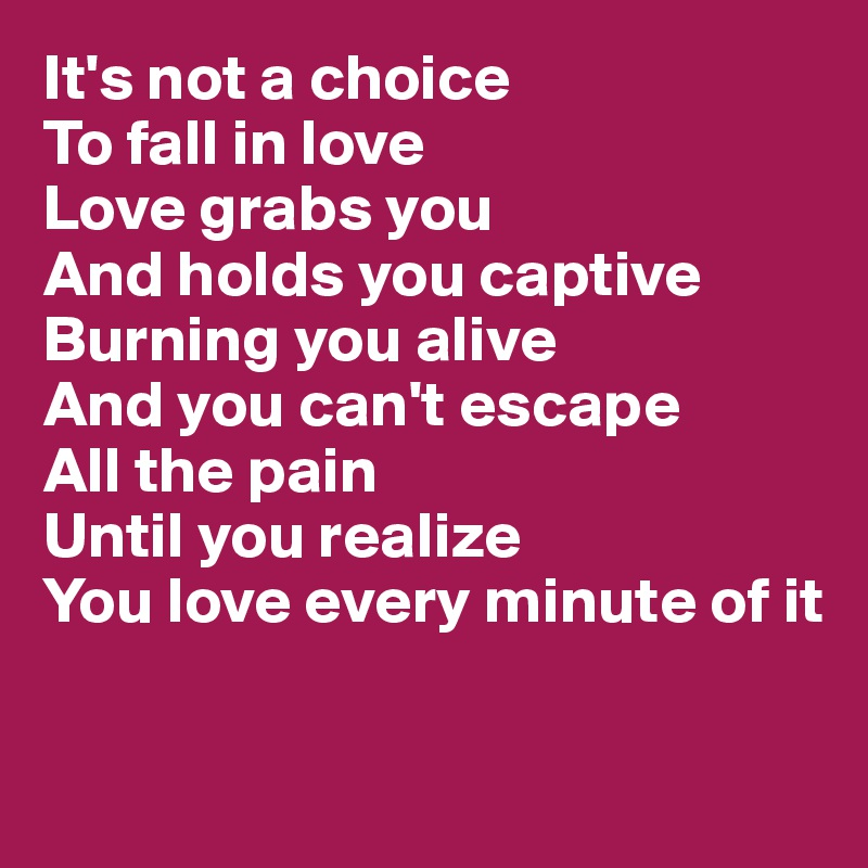 It's not a choice To fall in love Love grabs you And holds you captive Burning you alive And you can't escape  All the pain Until you realize You love every minute of it
