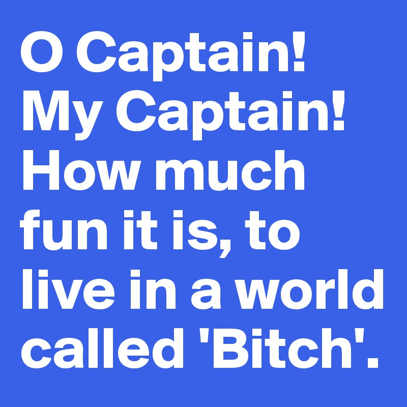 O Captain!My Captain! How much fun it is, to live in a world called 'Bitch'.