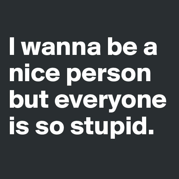 I wanna be a nice person but everyone is so stupid.