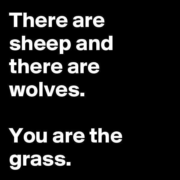 There are sheep and there are wolves.  You are the grass.