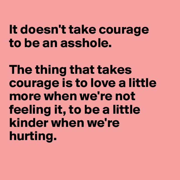 It doesn't take courage  to be an asshole.   The thing that takes courage is to love a little more when we're not feeling it, to be a little kinder when we're hurting.