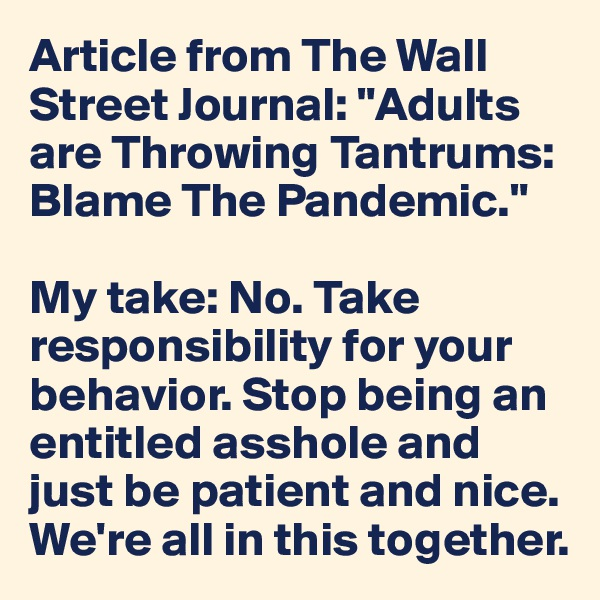"""Article from The Wall Street Journal: """"Adults are Throwing Tantrums: Blame The Pandemic.""""  My take: No. Take responsibility for your behavior. Stop being an entitled asshole and just be patient and nice. We're all in this together."""