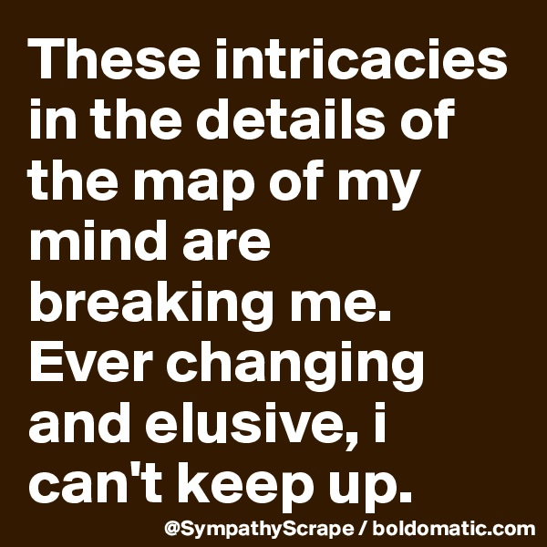 These intricacies in the details of the map of my mind are breaking me. Ever changing and elusive, i can't keep up.