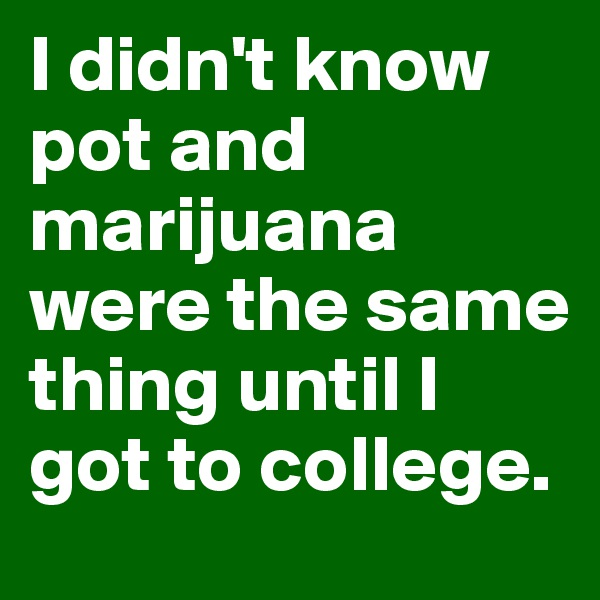 I didn't know pot and marijuana were the same thing until I got to college.