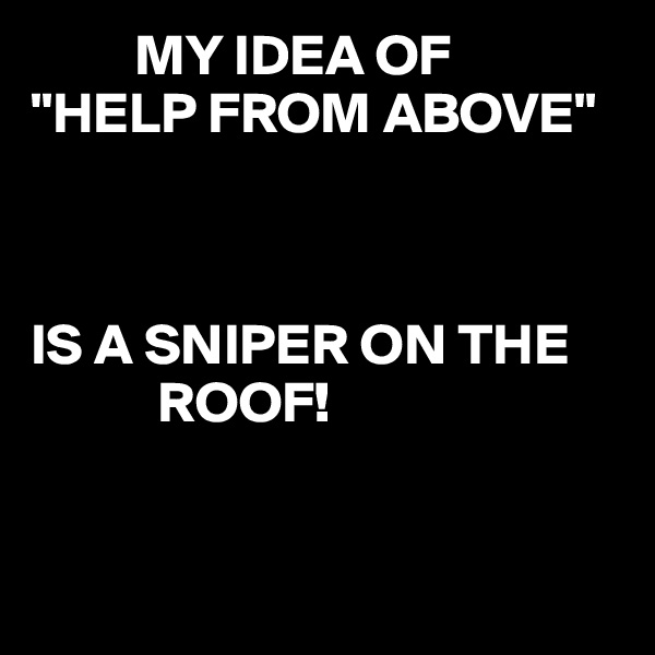 """MY IDEA OF """"HELP FROM ABOVE""""    IS A SNIPER ON THE            ROOF!"""