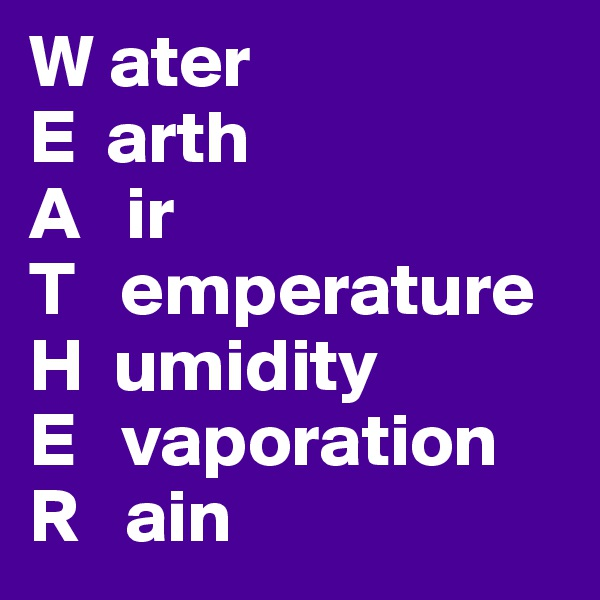 W ater E  arth A   ir T   emperature H  umidity E   vaporation R   ain