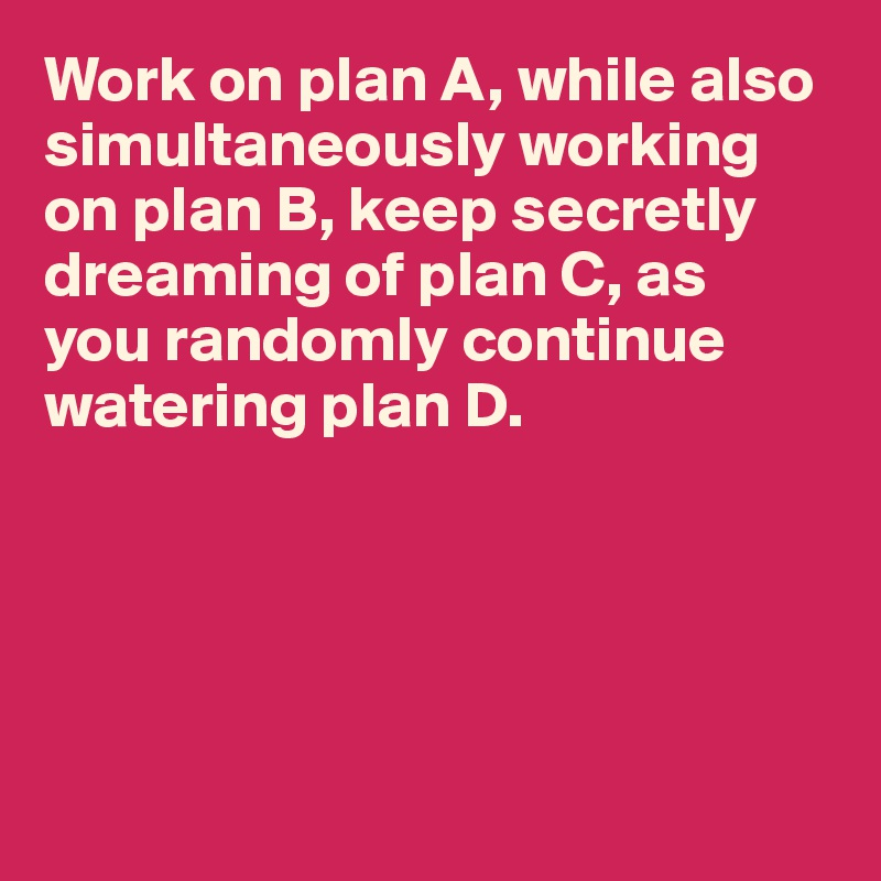 Work on plan A, while also simultaneously working on plan B, keep secretly dreaming of plan C, as  you randomly continue watering plan D.