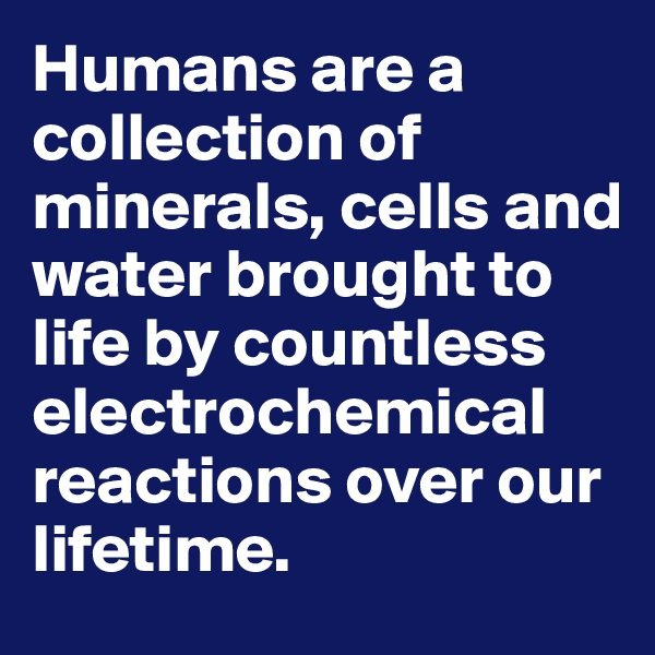 Humans are a collection of minerals, cells and water brought to life by countless electrochemical reactions over our lifetime.