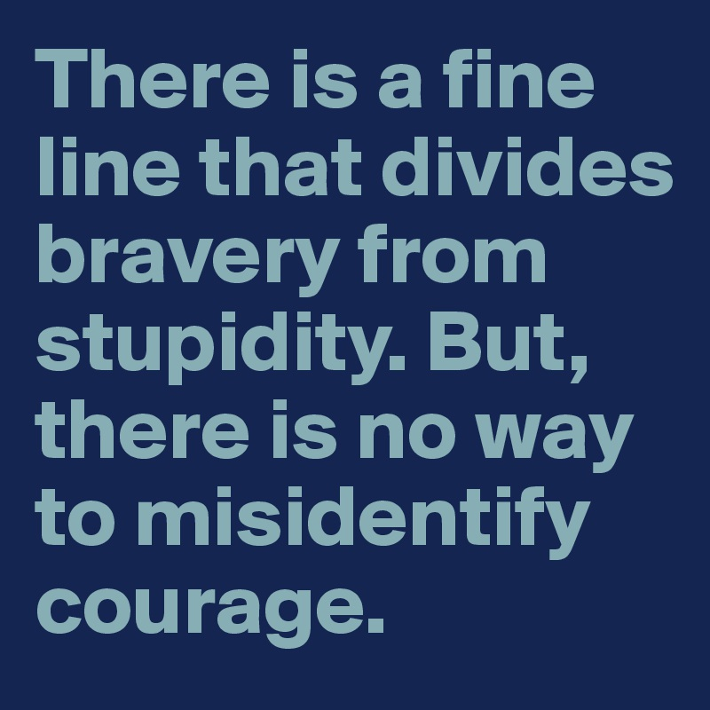 There is a fine line that divides bravery from stupidity. But, there is no way to misidentify courage.