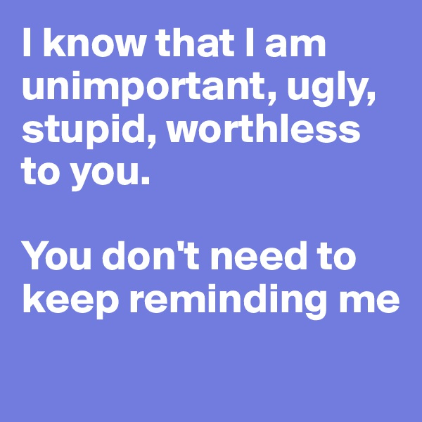 I know that I am unimportant, ugly, stupid, worthless to you.  You don't need to keep reminding me